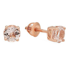 2.00 CT 10K Rose Gold Round Cut Morganite Ladies Solitaire Stud Earrings