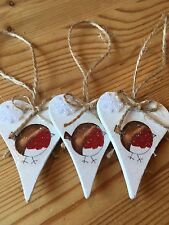 3 X Robin Christmas Hanging Decorations Country Shabby Chic Snowflakes Bows
