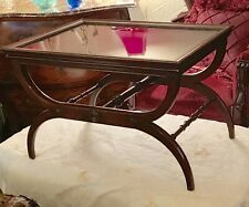 MCM Wishbone Table Remove Glass Tray Solid Mahogany Wood BUTLER Turned Spindles