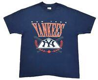 Vintage New York Yankees 1993 Tee Navy Size XL Single Stitch T Shirt MLB