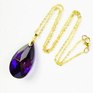"38x12mm Purple Titanium Crystal Drop Adjustable Necklace 17.5"" J68953"