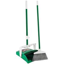 Lobby Broom Dustpan Combo Cleaning Set Steel Handle Green