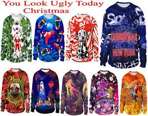 Unisex Man Women XMAS Christmas Jumper 3D Sweatshirt Party Pullover Ho Ho Santa
