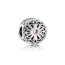 1p Pink Crystal Silver Heart pattern Bead Fits European Bracelet