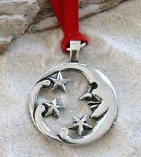 Pewter MOON FACE STARS LUNAR Christmas ORNAMENT Holiday