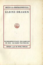 Hugo de Hofmannsthal: pequeños dramas (Leipzig 1906 en isla-Verlag) rar!!!