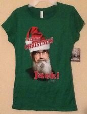 "Ladies Large DUCK DYNASTY T Shirt "" XMAS Si "" Green NEW Duck Commander"