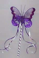 FLOWER GIRL OR BRIDESMAID CADBURY PURPLE AND  WHITE BUTTERFLY WAND