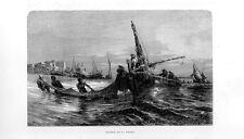 Stampa antica LAVAGNA pescatori nella rada Genova Liguria 1877 Old print