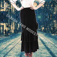 SHARON TANG Modest Apparel Long Black Stretch Velvet Layer Skirt  ST13080088-21