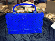 $475 ST. JOHN GORGEOUS SPARKLE BEADED BLUE EVENING PURSE, NEW WITH TAGS