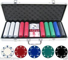 Composite 11.5g 500 pc Poker Chips Aluminum Case Cards Suited Dealer Button Dice