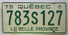 Quebec 1975 License Plate NICE QUALITY # 783S127