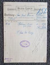 Alte Rechnung 1903 aus Werschetz, Ungarn, Roth Lipot   (RE2)