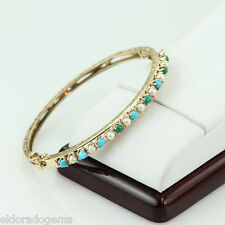 ANTIQUE HANDCRAFTED PEARL TUORQUOISE EMARALD BANGLE BRACELET 14K YELLOW GOLD