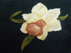 6 Vintage Needlepoint Pillow Seat Chair cover floral garden Dritz Wool 23x23
