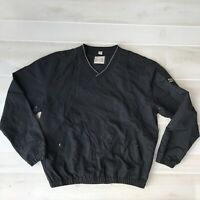 Vintage Men's M Medium IBM Long Sleeve Pullover V-Neck Windbreaker Black