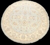 Vegetable Dye Oushak-Chobi Floral Oriental Area Rug Round Hand-knotted Wool 8x8