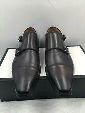 Magnanni Double Monk Strap Cap Toe Black Leather Dress Shoes 12622 Men's Sz 9 M