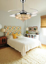 Retractabl Crystal Chandelier Ceiling Fans with Lights Remote and Dimmable LED