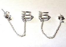 Ohrklemme mit Kette Ohrring 925 Sterling Silber Ohrstecker Ear Cuff Neu