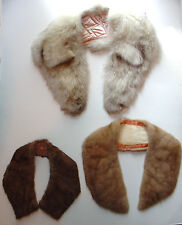 Lot 3 unknown fur or faux? collars, handstitched linings Good to Excellent Cond