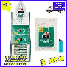 7200 Filtri Slim GIZEH 6mm al MENTOLO 60 BUSTE da 120 Filtri