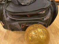 Hammer Black Widow Gold  bowling ball 15 LB. Un drilled With Hammer 2 Ball Bag