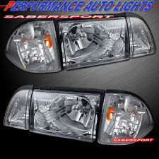 87-93 FORD MUSTANG EURO CLEAR HEADLIGHTS + PARKING + CORNER LIGHTS 6PC COMBO SET
