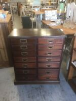Vintage Solid Wood Haberdashery Chest 14 Drawers,Furniture Showroom Kent,1930s