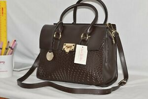 GENUINE LEATHER - NEW - Jane Shilton Designer Xbody Shoulderbag Handbag - BROWN