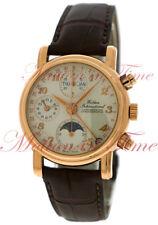 Waldan International Chronometre Chronograph 18kt Rose Gold Enamel Dial Moonphas