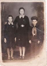 1958 Cute school children teen girls boy uniform old arcade Ussr Russian photo