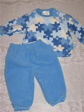 New The Children's Place fleece pants set boy 12 m  blue puzzle