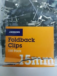 J.Burrows 15mm Foldback Clips over 200 pack