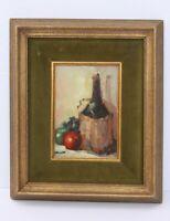 Nice Artist Signed Still Life Oil Wine Bottle W/ Fruit Painting Framed