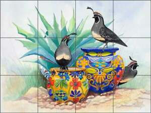 Southwest Glass Tile Mural Susan Libby Art Kitchen Shower Backsplash SLA012