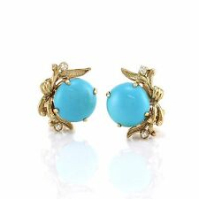 Sleeping Beauty Turquoise and Diamond Clip-on Earrings in 14K Yellow Gold | FJ