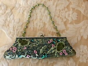 FASHION EXPRESS BEADED & EMBROIDERED GREEN & PINK PURSE/BAG