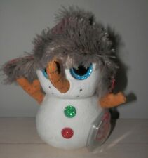 Ty Beanie Boos BUTTONS the Snowman Red Glitter Snow Hat Plush New