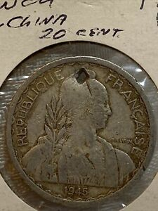 1945~a~French Indo-China  20 Cent Coin~~ Hole In Coin