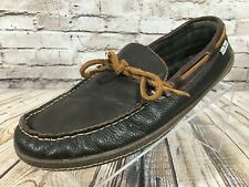 LL BEAN Flannel Lined Handsewn Brown Leather Moccasin Slippers Men's 10 M