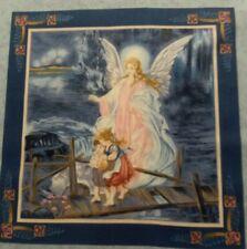 Guardian Angel with Children on Bridge Pillow Panel fabric