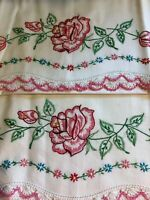 2 Pillow Cases Vintage 1950's White Deep Pink Roses Hand Crochet Edge Cotton
