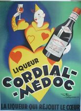 "Vintage French ""Cordial Medoc"" Poster on Linen"
