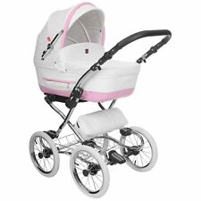 Kinderwagen TURRAN SILVER ECO PRESTIGE 3in1 Set Wanne Buggy Babyschale weiß-rosa