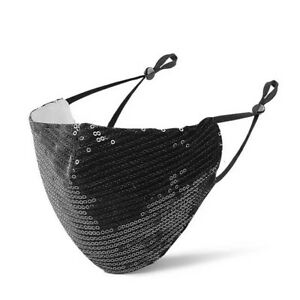 Black Glitter Sequins Washable Breathable Reusable Mouth Face Covering mask