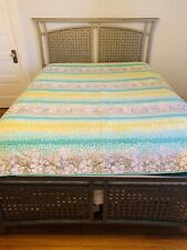Pottery Barn PB Teen Queen Size Quilt Bedspread Blanket Aqua Green Hibiscus