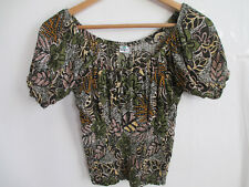 Womens crop top XS boat neck floral green crincle 100% Rayon peasant blouse