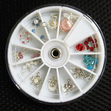 12 pcs Rhinestone Dangles For Gel Acrylic False Nail Art Tips Decoration Wheel